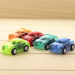 Wholesale Toy Car Lights - Wholesale 5 colors Transparent Mini Plastic Car Toys Cute Pull Back Car Kid's Wind-up Toys Retail Opp Bags Packaging for Sale