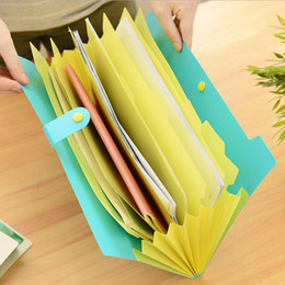 Wholesale Folded Paper Books - Wholesale- The New Book Waterproof Bags A4 Paper Folder Document Folding Design Color Random Rectangle Office Homeschooling