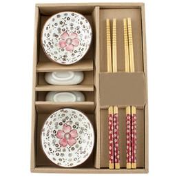 Wholesale Green Chopsticks - Wholesale Dinnerware Set Japanese tableware set Ceramics Sushi Saucer Set for Two in Gift Box 460554