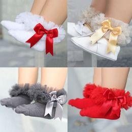 Wholesale Socks Tutu - pink socks Baby Girls Frilly Lace Low Cut Ankle High Cotton Tutu Socks Christening Wedding newborn baby socks