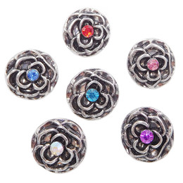 Wholesale Rose Flower Metal - B072 Women Noosa Metal Rose Flowers Chunks 12MM Mini Ginger Snap Button Jewelry for Noosa DIY Bracelets