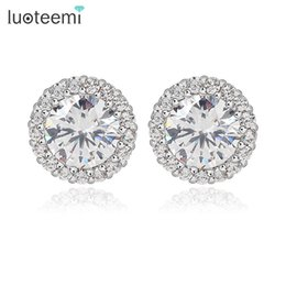 Wholesale Cutting Brass - LUOTEEMI Hearts & Arrows Perfect Cut Zircon White Gold-Color Stud Earrings for Women Classic Round Zircon With Tiny CZ Earrings
