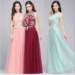 Wholesale Beautiful Chic - Beautiful Appliques Burgundy Mint Green Pink Chic Evening Dresses 2018 Newest Christmas Party Wear Gowns with Sash A Line Prom Gowns