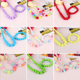 Wholesale Bow Tie Bracelets Wholesale - Kawaii Kids Necklace Bracelet Set For Sale Candy Colorful Bead Necklace for Girl Butterfly Star Bow Tie Flower Choker