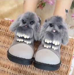 Wholesale Chocolate Rabbit Cartoon - 2017 Winter new women's boots cartoon Meng Meng rabbit shoes sleeve round head flat cotton snow boots student shoes
