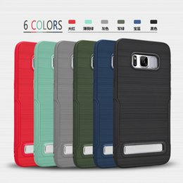 Wholesale Six Plus - For Samsung Galaxy S8 S8 Plus S7 edge S6 Brushed Case Kickstand TPU Six Color DHL Freeshiping