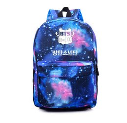 Wholesale Galaxy Print Bags - Wholesale- Epoch 2016 Korean K-POP Galaxy Blue Backpacks BTS Bags EXO GOT7 Canvas Printing Backpack School Bag Big Space Backpack Women