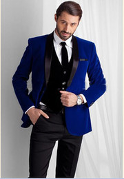 Wholesale Black Mens Grooming - 2016 New Designed Royal Blue Velvet Groom Tuxedos groommens suits Bespoke One button Groom wedding suits for mens Bestman's wedding suits