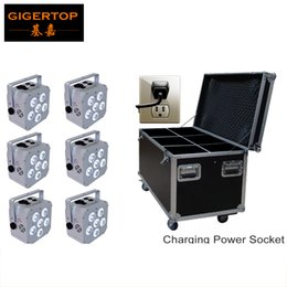 Wholesale Nickel Cases - TIPTOP 6IN1 Charging Flight Case + White Housing 6*18W 6in1 RGBWA UV Led Par Light Battery NI-MH Nickel Metal Hydride Battery Best Quality