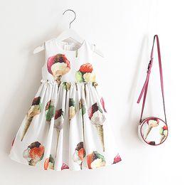 Wholesale Ice Cream Print Dress - Everweekend Girls Sweet Floral Ice Cream Print Party Dress Summer Fall Dress with Cross Bags Fashion Princess Sleeveless Dress