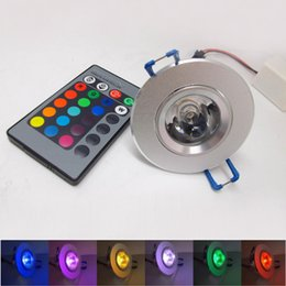 Ampoule de lampe de mur de projecteur en Ligne-3W 85-265V RGB downlight plafonnier plafonnier applique murale lampe encastrée Spotlight + télécommande ampoules LED RGB KTV DJ Party LED Spotlight