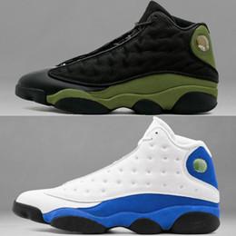 Wholesale Gs Sizes - 2018 air retro 13 Hyper Royal GS Italy Blue olive men basketball shoes retro 13s mens sports Sneaker Athletics Shoes size 41-47