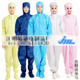 Wholesale high quality can permanent cleaning Polyester Filament conductive fibre Grey Anti static coverall protective clothing