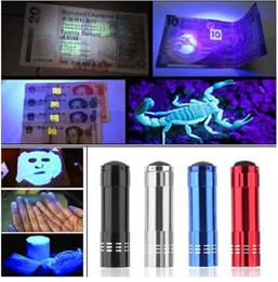 Wholesale Mini Car Flashlights - MINI flashlight Free shipping car Aluminium Mini Portable UV Ultra Violet Blacklight 9 LED Flashlight electric Torch Light hot 2017
