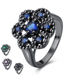 Wholesale Pink Ring Black Gold - Zirconia Diamond Cluster Rings 7 Pieces Gem Precious Stone Sapphire Ring 18K Gold Filled Blue Pink Green Black Generous Jewellery for Woman
