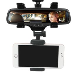 Wholesale Iphone Mirroring Car - Car Rear View Mirror Mount Auto Bracket Holder for iPhone 7 6s 6 plus Samsung S8 Plus GPS PDA MP3 Retailpackage