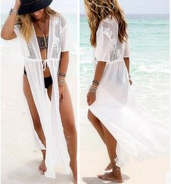 Wholesale Sexy Split Side Chiffon Maxi - 2017 new summer women lace blouse stitching chiffon beach dress fashion sexy printing on both sides of slit loose white plus size dress