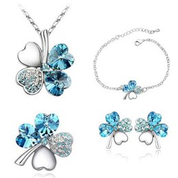 Wholesale Pink Gold Pendants - Four Leaf Clover Necklaces Pendants bracelet earring stud brooch Heart Crystal jewelry sets Fashion Jewelry For wedding Drop Ship 162068