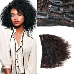 Wholesale Cheap Afros Wholesale - Afro Kinky Clip in Human Hair Extensions Brazilian Virgin Hair Medium Brown Cheap 120g Curly Clip ins FDSHINE HAIR