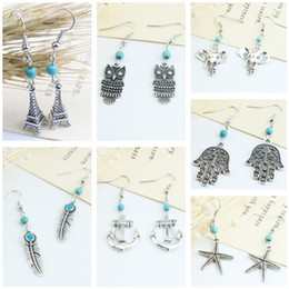 Wholesale Long Turquoise Earrings - New Vintage Long Jewelry Earrings Turquoise Owl Feather Eleaphant Dangle & Chandelier Silver Plated Earrings For Women Party