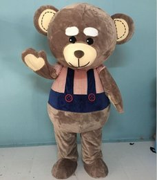 Wholesale Costume Teddy Bear Heads - SX0725 100% positive feedback big head big belly brown teddy bear mascot costume for adult to wear