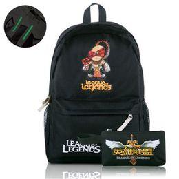 Wholesale League Legends Gold - Wholesale- 2016 LOL Game Backpacks League Of Legends Bag Canvas Rucksack Boy Girls Schoolbag Luminous Backpacks Travel Fashion Shoulder Bag