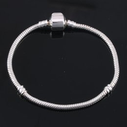 Wholesale Shell Logo - Silver Plated Bracelet fit Women For Pandora Snake chain Basic Bracelets Bangles Charm Bead DIY Jewelry With Logo