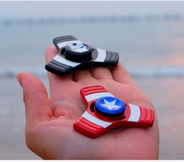 Wholesale Captain America Retail Box - 2017 Iron Man Captain America Spiderman Tri Hand Spinner Fidget Toy EDC Desk Focus Toy Fidget Spinner toy For Kids Adults with Retail Box