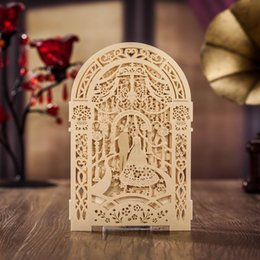 Wholesale Elegant Wedding Invitation Cards - Laser Cut Gold Wedding invitations cards Elegant Personalized Hollow Wedding Invitations Cards Printed Invitations with Envelope and Seal