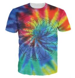 Cravatta fiori colorati online-New Fashion Mens / Womans Flower Petal Tie-Dye T-Shirt Summer Style Divertente Unisex 3D Print Casual T-Shirt AA359