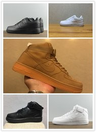 Wholesale Gray Running Shoes - 2017 forces Classical All White black gray low high cut men & women Sports sneakers Running Shoes Forceing one skate Shoes US 5.5-12