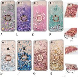 Wholesale Gold Ring Purple Diamond - Quicksand Bling Liquid Diamond Foil Glitter Hard PC Case For Iphone 7 Plus 6 6S SE 5 5S Gel TPU+Metal Finger Ring Moving Sparkle Holder Skin