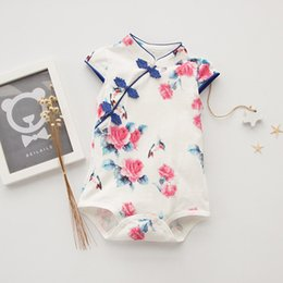 Wholesale Chinese Sweets Wholesale - Baby Girls fashion Chirpaur Romper Chinese Creative Style Romper sweet Summer outfits for 0-2T