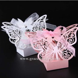 Wholesale Animal Paper Box - 100PCS set free shipping Laser Cut Wedding Candy boxes Beautiful Butterfly design Paper Holder Gift Boxes Home Party Favors Decoration