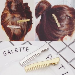 Wholesale Hair Designs For Girls - Hot Selling hair clips for girls comb design good quality alloy clips comb Sliver hairpin clip folder clip hairband hair clips accessories