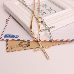 Wholesale Long Diamond Necklaces - 10pcs Popular Jewelry gold Long Cross Pendant Fit 1mm Snake Chains Necklace Cross necklaces jewelry choker 48cm