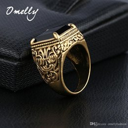 Wholesale Gold Plated Unique Ring - Unique Gold Filled Gemstone Mens Ring Big Black Stone Music Notation Carved Punk Gorgeous Vintage Man Jewelry