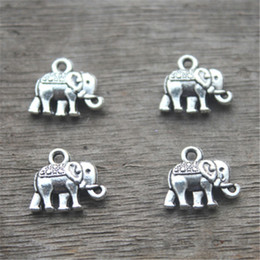 Wholesale elephants charms - 40pcs-Elephant charms,Antique silver Lovely Mini Elephant Charm Pendant 13x12mm