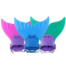 Wholesale Swimming Swim Diving Fins - Adjustable Mermaid Swim Fin Diving Monofin Swimming Foot Flipper Mono Fin Swim Training For Kid Children Christmas Gifts F-106