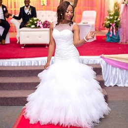 Wholesale Bridal Dresses Handwork - African Style White Beading Tiered Wedding Dresses Lace-up Custom Made Bridal Gown Plus Size Handwork Vestido De Noiva