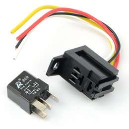 Wholesale Car Horn Relay - Universal 4P 4 Pin 30A 12V DC Fixed Back Socket Relay Kit Car Pump Light Horn M00080