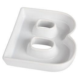 Wholesale Candy Party Ideas - Wholesale-B shape ceramic letter dishes & plates for candy ideas party dish dinner plate