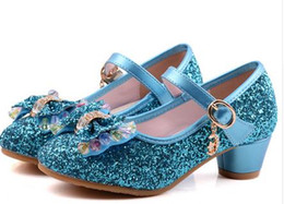 Wholesale Kids Dressing Shoes - Kids Girls High Heels For Party Sequined Cloth Blue Pink Shoes Ankle Strap Snow Queen Children Girls Pumps Shoes
