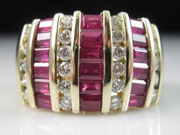 Wholesale Diamond Red Ruby Ring - 14K Ruby Diamond Ring EFFY Wide Band Yellow Gold Genuine Channel Anniversary