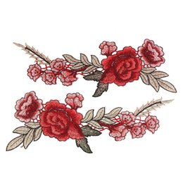 Wholesale Dresses Ornaments - 2pcs Beautiful Rose Flower Floral Collar Sew Patch Applique Badge Embroidered Bust Dress Handmade Craft Ornament Fabric Sticker
