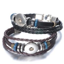 Wholesale Leather Metal Clasp - 2017 DIY Infinity Leather Wrap Bracelet Bracelets Metal Interchangeable Button Jewelry Weaving Beads Charms Jewelry 2 styles