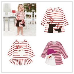 Wholesale Girls Santa Dress Costume - Girl Dress Christmas Party Cosplay Costume Princess Santa Claus Deer Elk Dress Stripe Long Sleeve Skirt