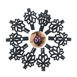 pingente de gaiola de flor Desconto Encantos 10pcs / lot Preto Cor Lotus Flower Pérola gaiola pendente para Beads, Pedras Locket fazer jóias Colar Pulseira DIY