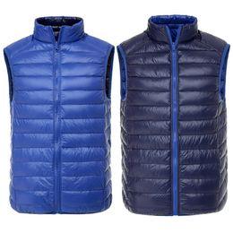 Wholesale Nylon Down Coat - Men Duck Vest Ultra Light Reversible Two Sided Wear Waistcoat Vest Sleeveless Jacket Autumn Winter Coat