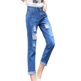 Wholesale Jeans For Women Wholesale - Wholesale- Tengo New Fashion Women Jeans Hole Harem Pants Women Loose Casual Jeans Female Boyfriend Ripped Jeans for Women Distressed